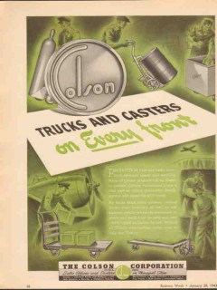 colson corp 1943 trucks casters on every front ww2 vintage ad