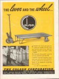 colson corp 1943 lever and wheel lift jack platform ww2 vintage ad