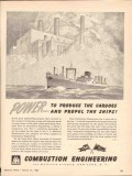 combustion engineering 1943 power produce propel ships ww2 vintage ad