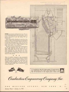 combustion engineering 1943 war production starts here ww2 vintage ad
