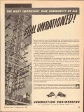 combustion engineering 1943 war commodity still unrationed vintage ad