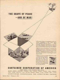 container corp of america 1943 shape of peace and war ww2 vintage ad