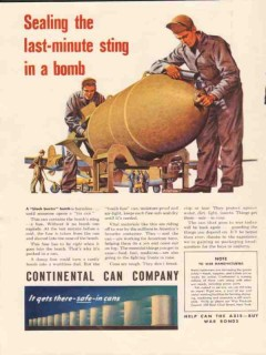 continental can company 1943 sealing last-minute sting bomb vintage ad