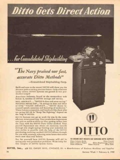 ditto inc 1943 gets direct action consolidated shipbuilding vintage ad
