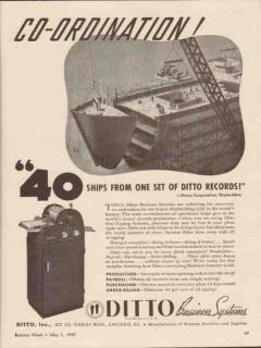 ditto inc 1943 co-ordination dravo corp shipbuilders ww2 vintage ad