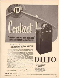 ditto inc 1943 contact keeps flying purchase order plan ww2 vintage ad