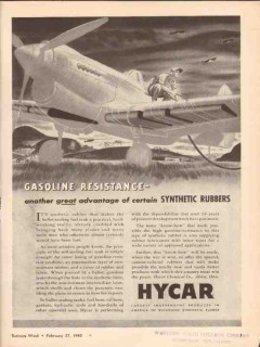 hycar chemical company 1943 gasoline resistance rubber vintage ad