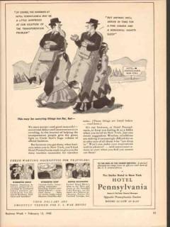 hotel pennsylvania 1943 solution of transportation problem vintage ad