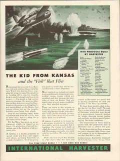 international harvester 1943 kid from kansas fish flies ww2 vintage ad