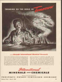 international minerals chemical co 1943 treading tomorrow vintage ad