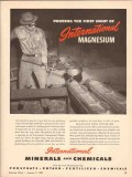 international minerals chemical co 1943 pouring magnesium vintage ad