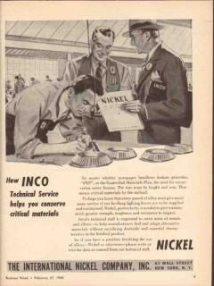 international nickel company 1943 conserve material ww2 vintage ad