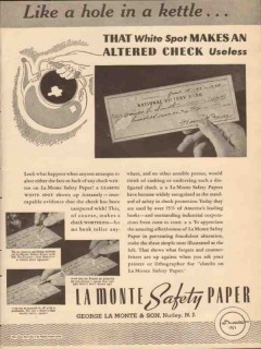 george la monte son 1943 hole in kettle check safety paper vintage ad