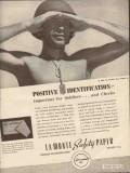 george la monte son 1943 positive identification checks ww2 vintage ad