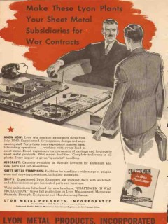 lyon metal products inc 1943 sheet metal war contracts ww2 vintage ad