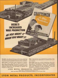 lyon metal products inc 1943 increased war production ww2 vintage ad