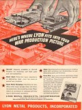 lyon metal products inc 1943 fits war production picture vintage ad