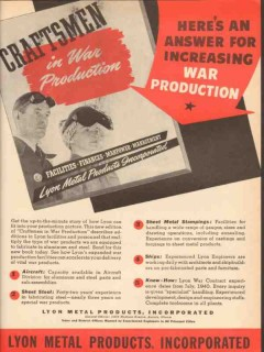 lyon metal products inc 1943 increasing war production ww2 vintage ad