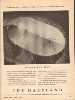 maryland casualty company 1943 covers like a tent ww2 vintage ad