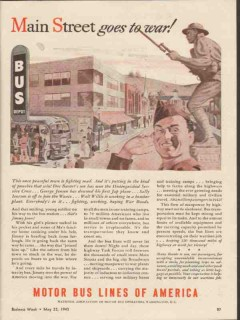 motor bus lines of america 1943 main street goes to war ww2 vintage ad