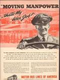 motor bus lines of america 1943 moving manpower war job ww2 vintage ad