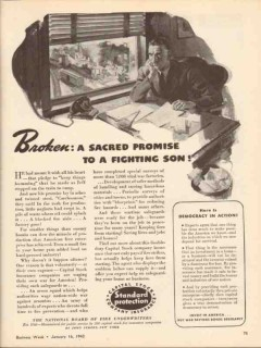 capital stock company insurance 1943 broken sacred promise vintage ad