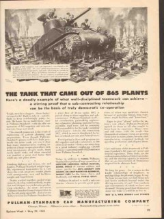 pullman-standard car mfg company 1943 tank came out plants vintage ad