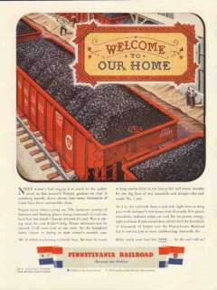 pennsylvania railroad 1943 welcome to our home coal trains vintage ad
