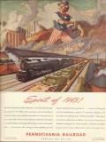 pennsylvania railroad 1943 spirit of 1776 uncle sam ww2 vintage ad