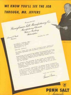 pennsylvania salt mfg co 1943 letter to william jeffers ww2 vintage ad