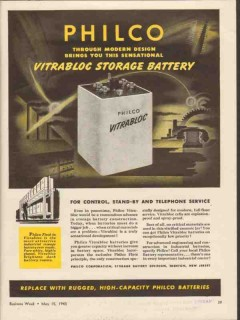 philco corp 1943 vitrabloc storage battery control stand-by vintage ad