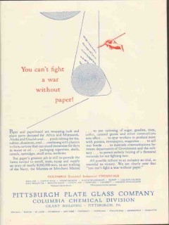 pittsburgh plate glass company 1943 fight war without paper vintage ad
