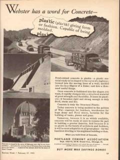 portland cement association 1943 word for concrete plastic vintage ad