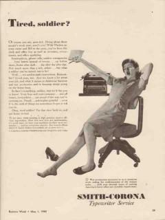l c smith corona typewriter co 1943 tired soldier ww2 vintage ad