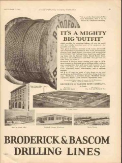 Broderick Bascom Rope Company 1929 Vintage Ad Oil Field Big Outfit