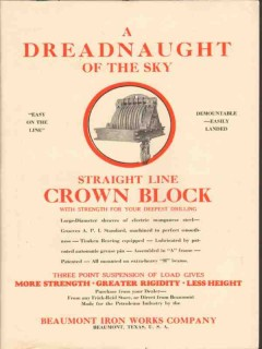 Beaumont Iron Works Company 1929 Vintage Ad Oil Field Sky Crown Block