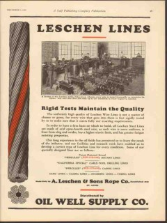 A Leschen Rope Company 1930 Vintage Ad Oil Rigid Test Maintain Quality