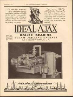 Ajax Iron Works 1930 Vintage Ad Engine Power Plus Latest Piston Valve