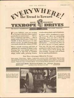 Allis-Chalmers Mfg Company 1930 Vintage Ad Everywhere Texrope Drives