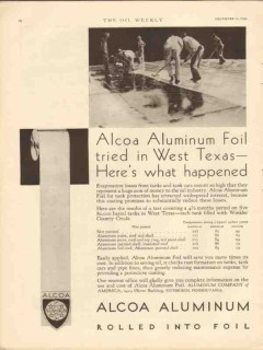 aluminum company of america 1930 foil west texas tanks cars vintage ad