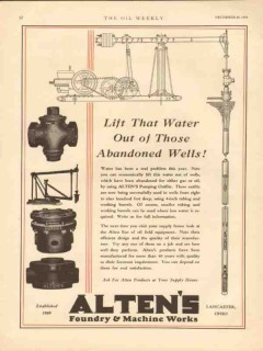 Alten Foundry Machine Works 1930 Vintage Ad Water Out Abandoned Wells