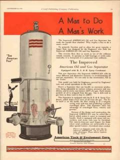 American Tank Equipment Co 1930 Vintage Ad Man Work Improved Separator