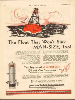 American Tank Equipment Co 1930 Vintage Ad Float Wont Sink Separator