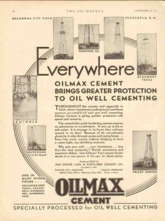 Ash Grove Lime Portland Cement 1930 Vintage Ad Everywhere Oilmax Well