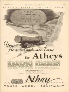 athey truss wheel company 1930 heavy loads are easy oil gas vintage ad