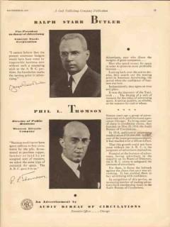 audit bureau circulations 1930 ralph butler phil thomson vintage ad