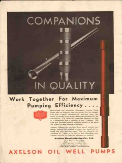 Axelson Mfg Company 1930 Vintage Ad Oil Companions In Quality Pumping