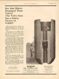 Baker Oil Tools Inc 1930 Vintage Ad Designed Float Valve Well Cement