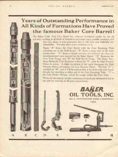 Baker Oil Tools Inc 1930 Vintage Ad Outstanding Performance Core