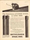 bethlehem steel company 1930 importance good line pipe oil vintage ad
